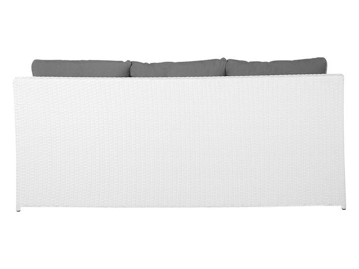 Zestaw mebli ogrodowych 5-osobowy biały rattan szare poduszki sofa 2 fotele pufa stolik Technorattan Tworzywo sztuczne Aluminium Zestawy wypoczynkowe Kategoria Zestawy mebli ogrodowych