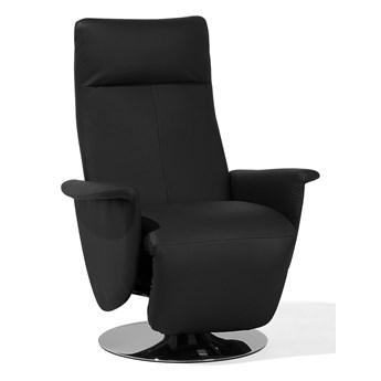 Fotel wypoczynkowy czarny ekoskóra z funkcją relaks rozkładany telewizyjny