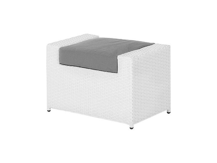 Zestaw mebli ogrodowych 5-osobowy biały rattan szare poduszki sofa 2 fotele pufa stolik Tworzywo sztuczne Aluminium Zestawy wypoczynkowe Technorattan Kategoria Zestawy mebli ogrodowych