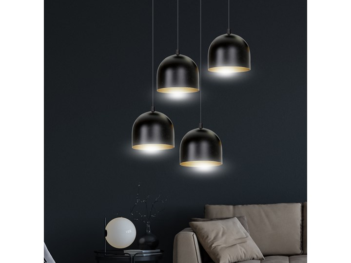 AERO 4 BLACK / GOLD 246/4 lampa wisząca regulowana czarny klosz złoty środek Metal Lampa z kloszem Kategoria Lampy wiszące
