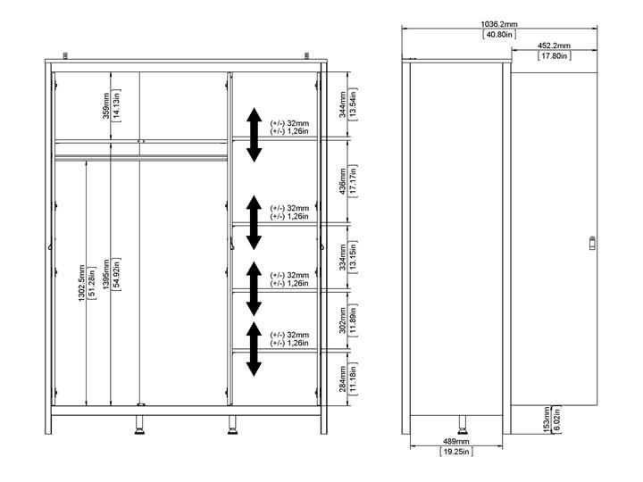 Trzydrzwiowa szafa ubraniowa w kolorze czarnym Madrid 3D Głębokość 58 cm Wysokość 199 cm Szerokość 150 cm Ilość drzwi Trzydrzwiowe
