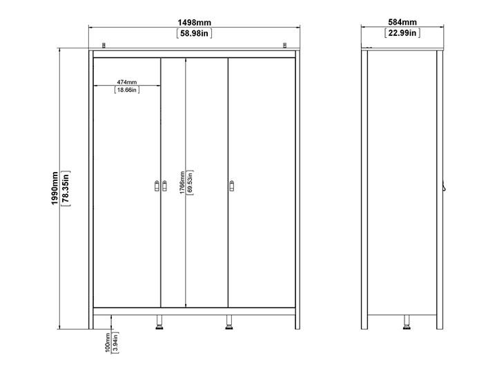 Trzydrzwiowa szafa ubraniowa w kolorze czarnym Madrid 3D Szerokość 150 cm Wysokość 199 cm Głębokość 58 cm Ilość drzwi Trzydrzwiowe