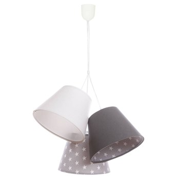 Potrójna lampa wisząca do pokoju dziecka Ksenia biało szare stożki w gwiazdki