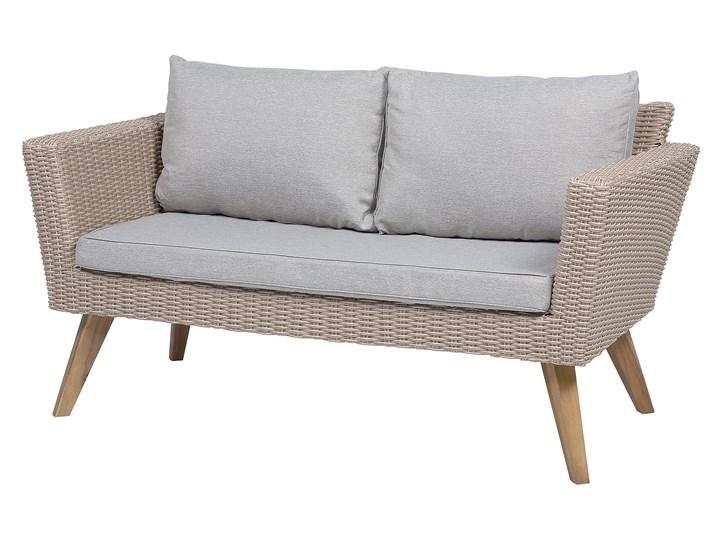 Zestaw mebli ogrodowych 4-osobowy wypoczynkowy szaro-brązowy technorattan sofa dwa fotele poduszki stolik kawowy Stal Zestawy wypoczynkowe Styl Nowoczesny Tworzywo sztuczne Zestawy kawowe Kategoria Zestawy mebli ogrodowych