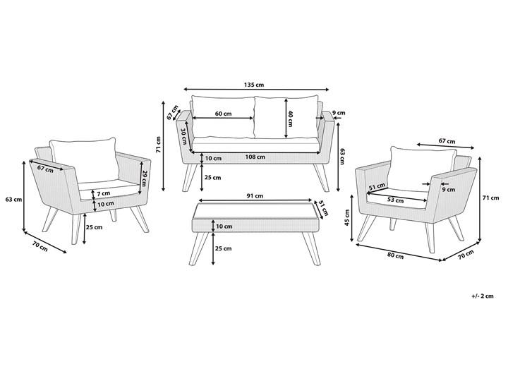 Zestaw mebli ogrodowych 4-osobowy wypoczynkowy szaro-brązowy technorattan sofa dwa fotele poduszki stolik kawowy Zestawy wypoczynkowe Tworzywo sztuczne Stal Zestawy kawowe Styl Nowoczesny