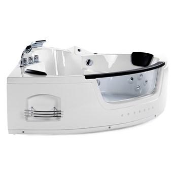 Wanna narożna biała akrylowa 144 x 144 cm LED hydromasaż zagłówki nowoczesna