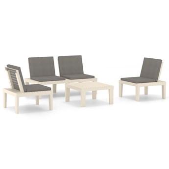 vidaXL 4-cz. zestaw wypoczynkowy do ogrodu, poduszki, plastik, biały
