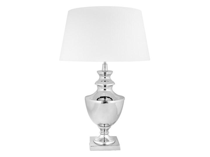 Klasyczna srebrna lampa w stylu glamour  MANOLO Lampa z abażurem Styl Klasyczny Wysokość 76 cm Kategoria Lampy stołowe