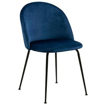 Welurowe krzesło tapicerowane granatowe - Evenne