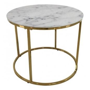 Stolik kawowy Bolton biały, złoty śr. 50 cm