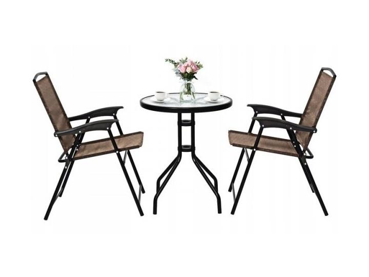 Meble ogrodowe zestaw stół i 2 krzesła Stoły z krzesłami Stal Styl Nowoczesny
