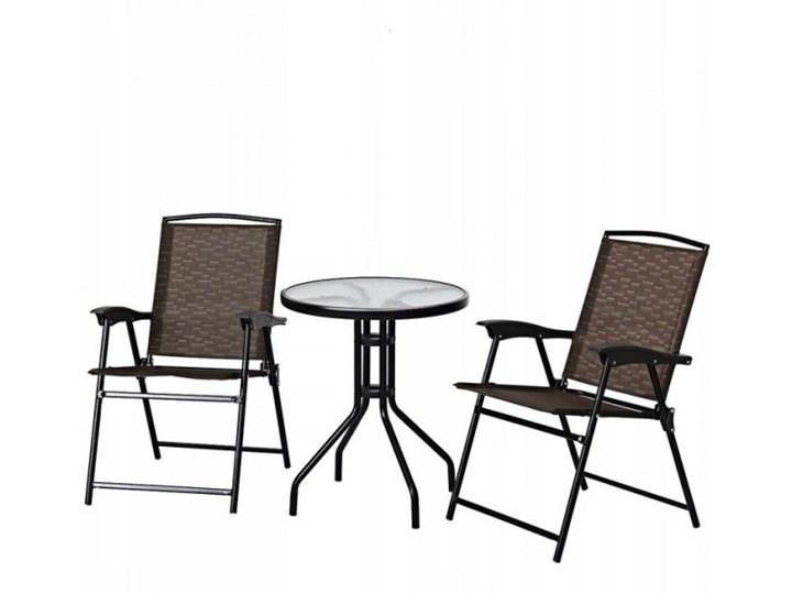 Meble ogrodowe zestaw stół i 2 krzesła Stal Stoły z krzesłami Styl Nowoczesny