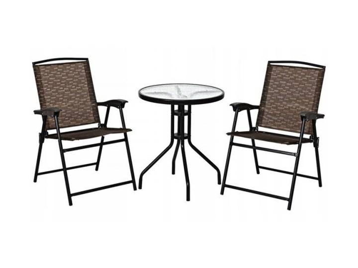 Meble ogrodowe zestaw stół i 2 krzesła Stal Stoły z krzesłami Styl Nowoczesny Zawartość zestawu Stolik
