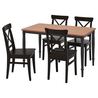 IKEA DANDERYD / INGOLF Stół i 4 krzesła, sosna czarny/brązowoczarny, 130x80 cm