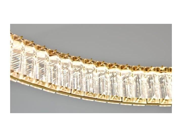 MCODO ::  Kryształowy złoty żyrandol led Prisma 48W z barwą ciepłą 3000K ring 80cm Lampa z kryształkami Styl Klasyczny Lampa z kloszem Lampa LED Metal Styl Glamour