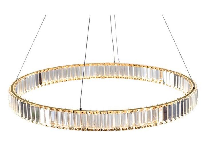 MCODO ::  Kryształowy złoty żyrandol led Prisma 48W z barwą ciepłą 3000K ring 80cm Lampa z kloszem Metal Lampa z kryształkami Lampa LED Styl Nowoczesny