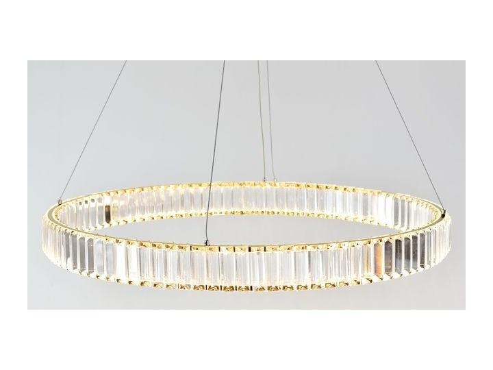 MCODO ::  Kryształowy złoty żyrandol led Prisma 48W z barwą ciepłą 3000K ring 80cm Metal Lampa z kryształkami Lampa z kloszem Lampa LED Styl Klasyczny