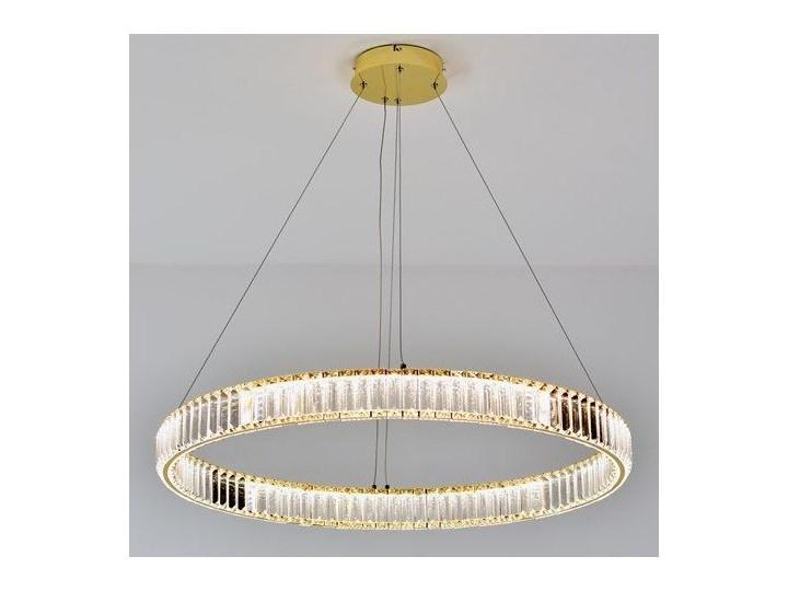 MCODO ::  Kryształowy złoty żyrandol led Prisma 48W z barwą ciepłą 3000K ring 80cm Lampa LED Metal Lampa z kryształkami Lampa z kloszem Styl Nowoczesny Styl Glamour