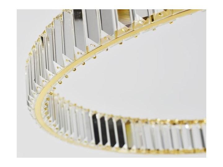 MCODO ::  Kryształowy złoty żyrandol led Prisma 48W z barwą ciepłą 3000K ring 80cm Lampa z kloszem Lampa z kryształkami Metal Lampa LED Styl Nowoczesny