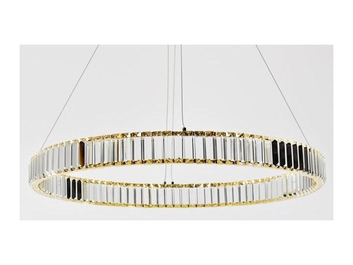 MCODO ::  Kryształowy złoty żyrandol led Prisma 48W z barwą ciepłą 3000K ring 80cm Lampa z kloszem Styl Nowoczesny Lampa LED Metal Lampa z kryształkami Styl Klasyczny