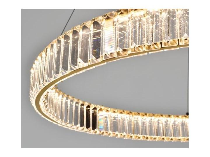 MCODO ::  Kryształowy złoty żyrandol led Prisma 48W z barwą ciepłą 3000K ring 80cm Lampa LED Lampa z kryształkami Lampa z kloszem Metal Styl Nowoczesny