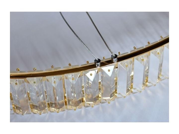 MCODO ::  Kryształowy złoty żyrandol led Prisma 48W z barwą ciepłą 3000K ring 80cm Lampa z kloszem Lampa LED Metal Lampa z kryształkami Styl Klasyczny