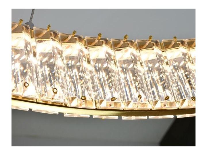 MCODO ::  Kryształowy złoty żyrandol led Prisma 60W z barwą ciepłą 3000K z podwójnymi ringami 60 i 40cm Chrom Metal Lampa z kryształkami Kategoria Lampy wiszące