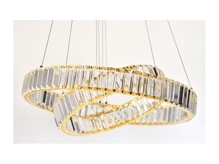MCODO ::  Kryształowy złoty żyrandol led Prisma 60W z barwą ciepłą 3000K z podwójnymi ringami 60 i 40cm Lampa z kryształkami Chrom Metal Kategoria Lampy wiszące