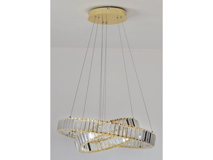MCODO ::  Kryształowy złoty żyrandol led Prisma 60W z barwą ciepłą 3000K z podwójnymi ringami 60 i 40cm Chrom Lampa z kryształkami Metal Styl Nowoczesny Kategoria Lampy wiszące