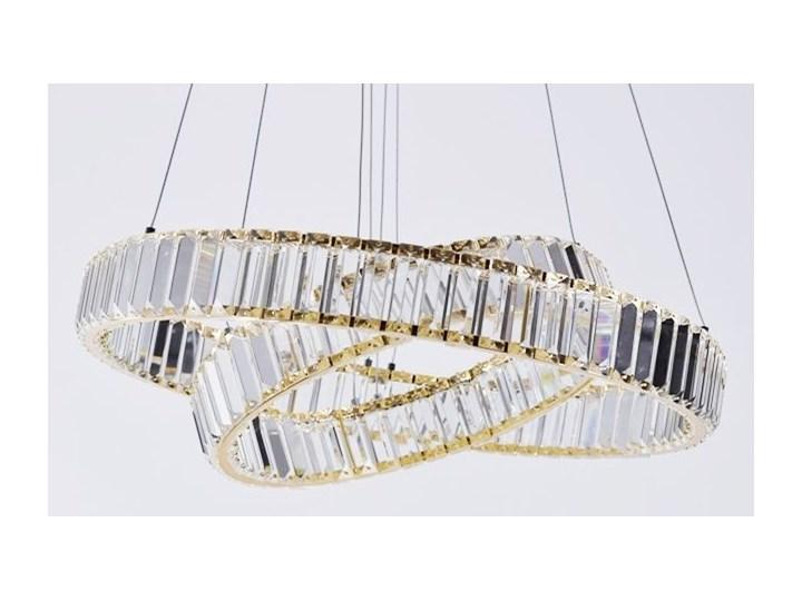 MCODO ::  Kryształowy złoty żyrandol led Prisma 60W z barwą ciepłą 3000K z podwójnymi ringami 60 i 40cm Styl Klasyczny Chrom Lampa z kryształkami Metal Kategoria Lampy wiszące