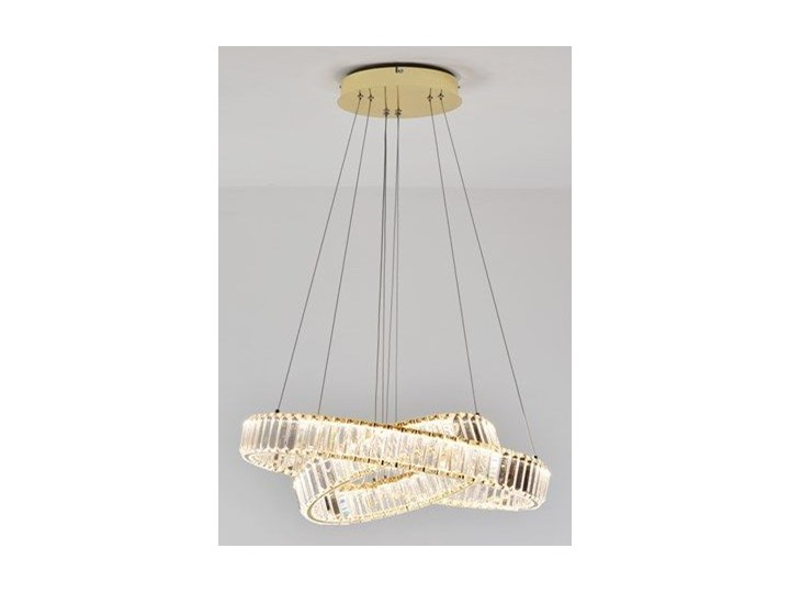 MCODO ::  Kryształowy złoty żyrandol led Prisma 60W z barwą ciepłą 3000K z podwójnymi ringami 60 i 40cm Metal Lampa z kryształkami Chrom Kategoria Lampy wiszące Styl Klasyczny