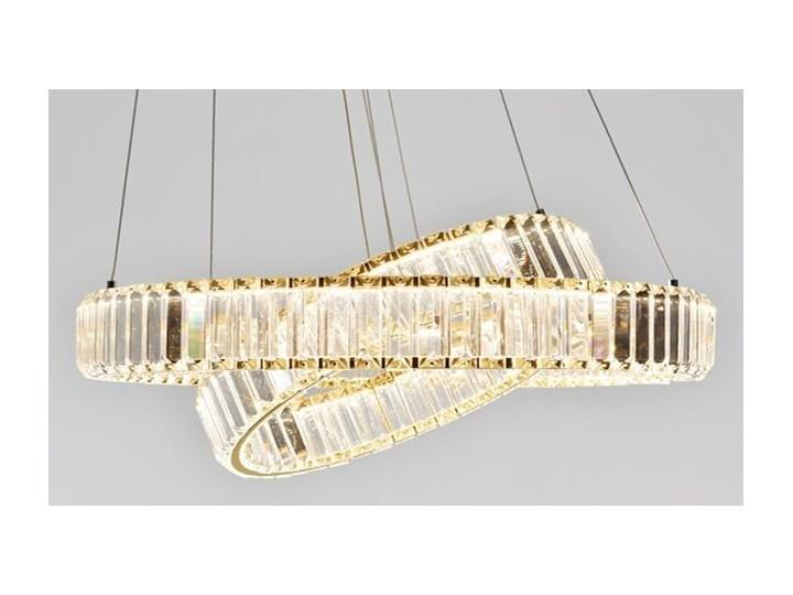 MCODO ::  Kryształowy złoty żyrandol led Prisma 60W z barwą ciepłą 3000K z podwójnymi ringami 60 i 40cm Metal Chrom Lampa z kryształkami Styl Klasyczny Styl Nowoczesny