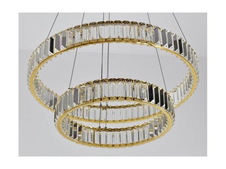 MCODO ::  Kryształowy złoty żyrandol led Prisma 60W z barwą ciepłą 3000K z podwójnymi ringami 60 i 40cm Metal Chrom Lampa z kryształkami Styl Klasyczny