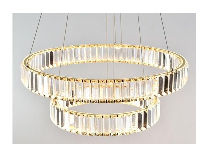 MCODO ::  Kryształowy złoty żyrandol led Prisma 60W z barwą ciepłą 3000K z podwójnymi ringami 60 i 40cm Lampa z kryształkami Chrom Kategoria Lampy wiszące Metal Styl Nowoczesny