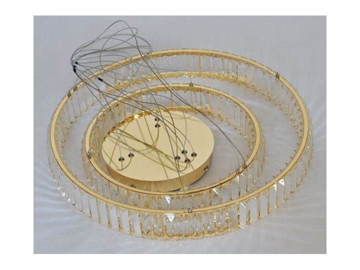 MCODO ::  Kryształowy złoty żyrandol led Prisma 60W z barwą ciepłą 3000K z podwójnymi ringami 60 i 40cm Chrom Lampa z kryształkami Metal Kategoria Lampy wiszące Styl Klasyczny