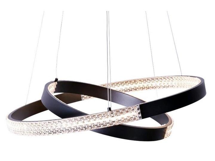 MCODO ::  Nowoczesna lampa led Luna czarna o mocy 60W z barwą ciepłą 3000K 60cm Lampa z kloszem Kolor Czarny Tworzywo sztuczne Metal Styl Nowoczesny