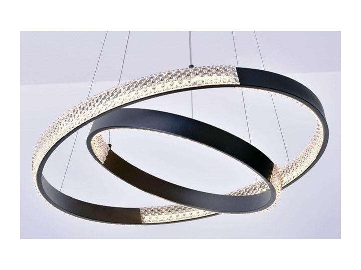 MCODO ::  Nowoczesna lampa led Luna czarna o mocy 60W z barwą ciepłą 3000K 60cm Lampa z kloszem Metal Tworzywo sztuczne Kolor Czarny Styl Nowoczesny