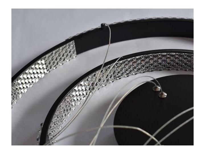 MCODO ::  Nowoczesna lampa led Luna czarna o mocy 60W z barwą ciepłą 3000K 60cm Metal Tworzywo sztuczne Lampa z kloszem Styl Nowoczesny