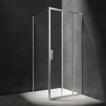 Kabina kwadratowa Chelsea, drzwi przesuwne, 80x80cm, chrom/transp, CH8080CRTR