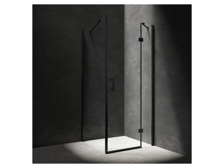 Kabina kwadratowa Manhattan z drzwiami uchylnymi, 80x80cm, czarny mat/transp, MH8080BLTR