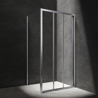Kabina kwadratowa Bronx, drzwi przesuwne, 80x80cm, chrom/transp, BR8080CRTR