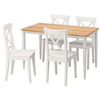 IKEA DANDERYD / INGOLF Stół i 4 krzesła, okl dęb biały/biały, 130x80 cm