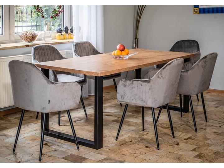 Rozkładany stół do jadalni 140x240x90 - FIORD - Dąb Metal Drewno Długość 140 cm  Szerokość 240 cm Sosna Płyta MDF Pomieszczenie Stoły do jadalni