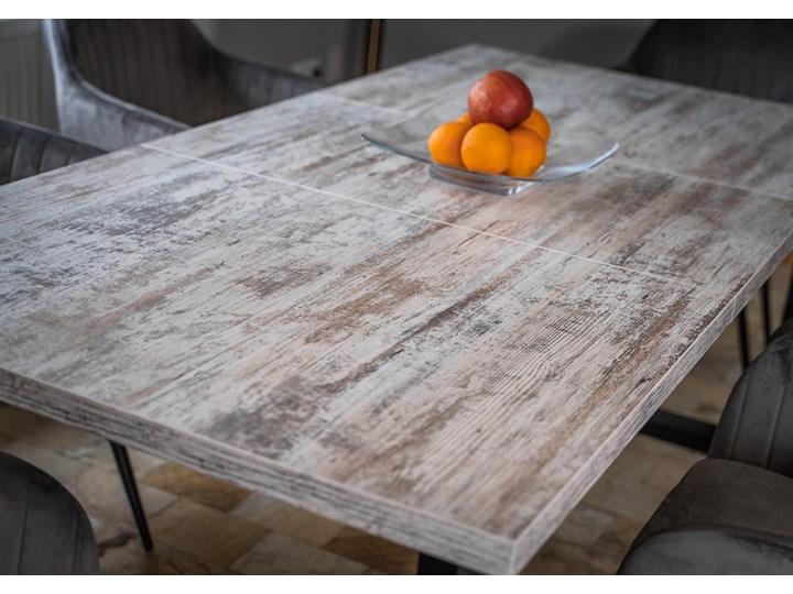 Rozkładany stół do salonu w stylu LOFTOWYM 160x260x90 - FIORD - Sosna bielona Metal Płyta MDF Wysokość 75 cm Szerokość 260 cm Długość 160 cm  Pomieszczenie Stoły do salonu