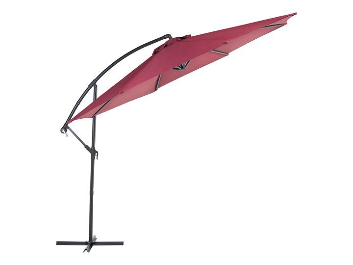 Parasol ogrodowy burgundowy na wysięgniku Ø300 cm podwieszany ciemnoszara stalowa rama Kategoria Parasole ogrodowe Parasole Kolor Czerwony