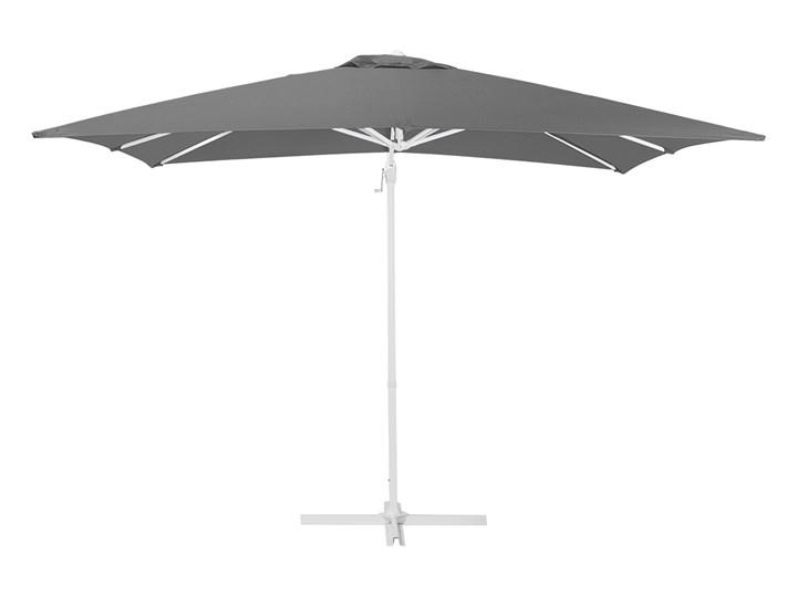 Parasol ogrodowy szary na wysięgniku 250 x 250 cm podwieszany biała aluminiowa rama Kolor Biały