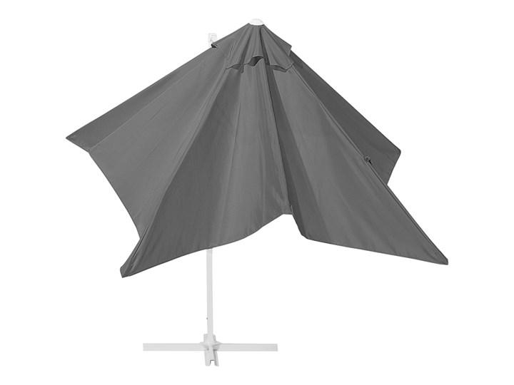 Parasol ogrodowy szary na wysięgniku 250 x 250 cm podwieszany biała aluminiowa rama Kategoria Parasole ogrodowe Kolor Biały