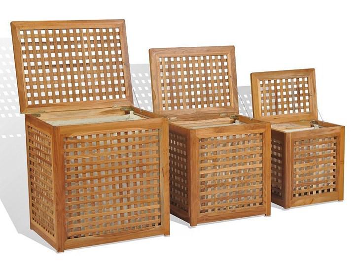 Zestaw tekowych koszy na pranie - Tasani Kategoria Tkanina Drewno Kolor Brązowy