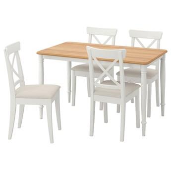 IKEA DANDERYD / INGOLF Stół i 4 krzesła, okl dęb biały/Hallarp beżowy, 130x80 cm