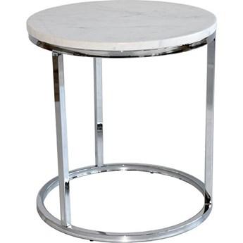 Stolik kawowy Accent Ø50 cm biały marmur - nogi chromowe